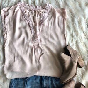 Blush pink summer lace Rebecca Taylor shirt